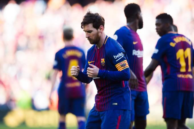Lionel Messi celebra gol contra o Athletic Bilbao