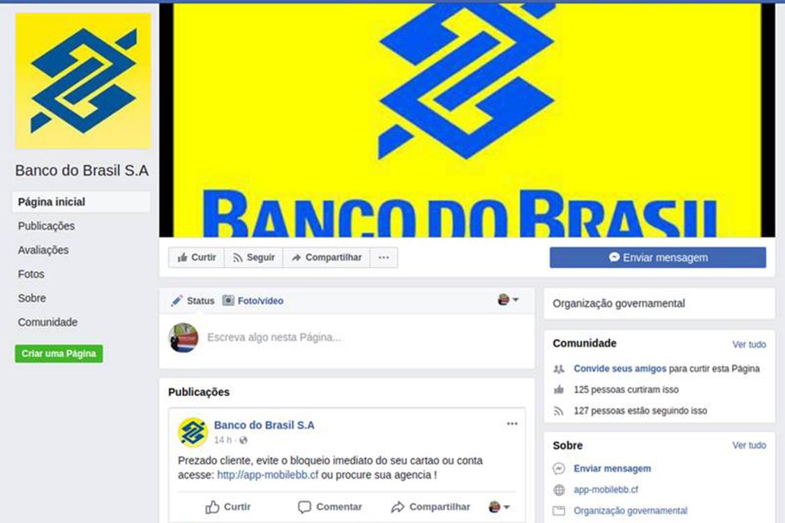 Perfil falso no Banco do Brasil no Facebook