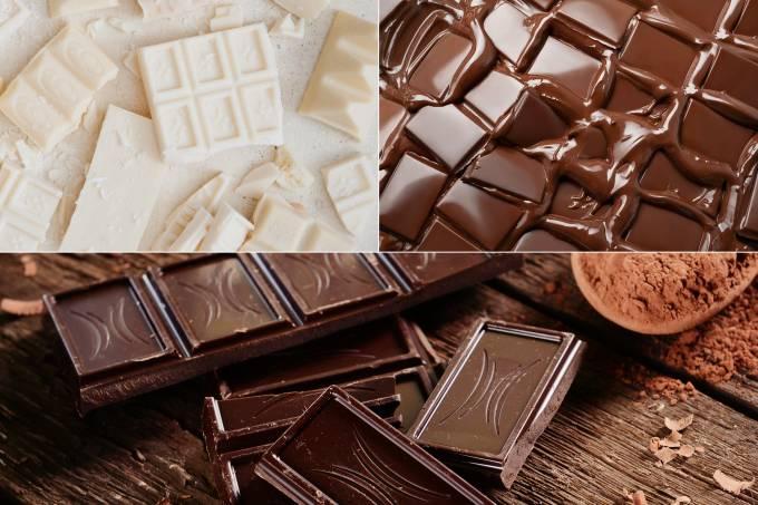 Chocolates branco, ao leite e amargo