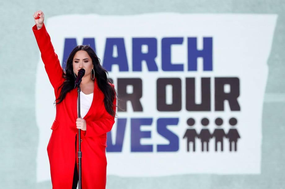 A cantora Demi Lovato realiza apresentação durante protesto contra armas de fogo, denominado 'March for Our Lives', em Washington - 24/03/2018