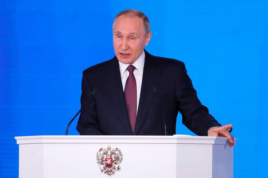 O presidente da Rússia, Vladimir Putin, realiza pronunciamento na Assembleia Federal em Moscou - 01/03/2018