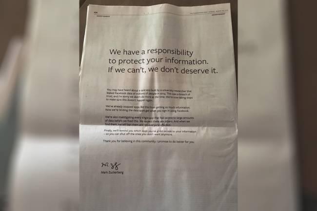 'Washington Post' veicula pedido de desculpas do Facebook