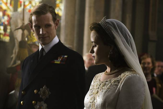 Matt Smith e Claire Foy em 'The Crown'