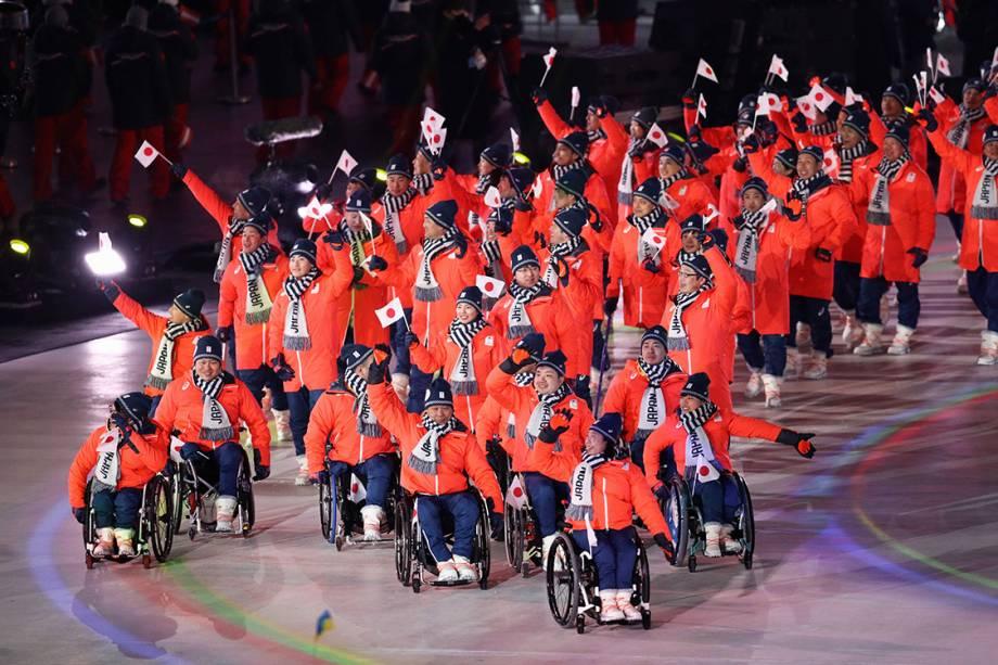 Delegação do Japão durante a abertura das Olimpíadas Paralímpicas de PyeongChang, na Coreia do Sul