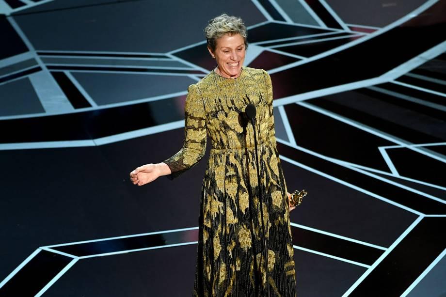Frances McDormand vence o Oscar de melhor atriz por 'Três Anúncios para um Crime'