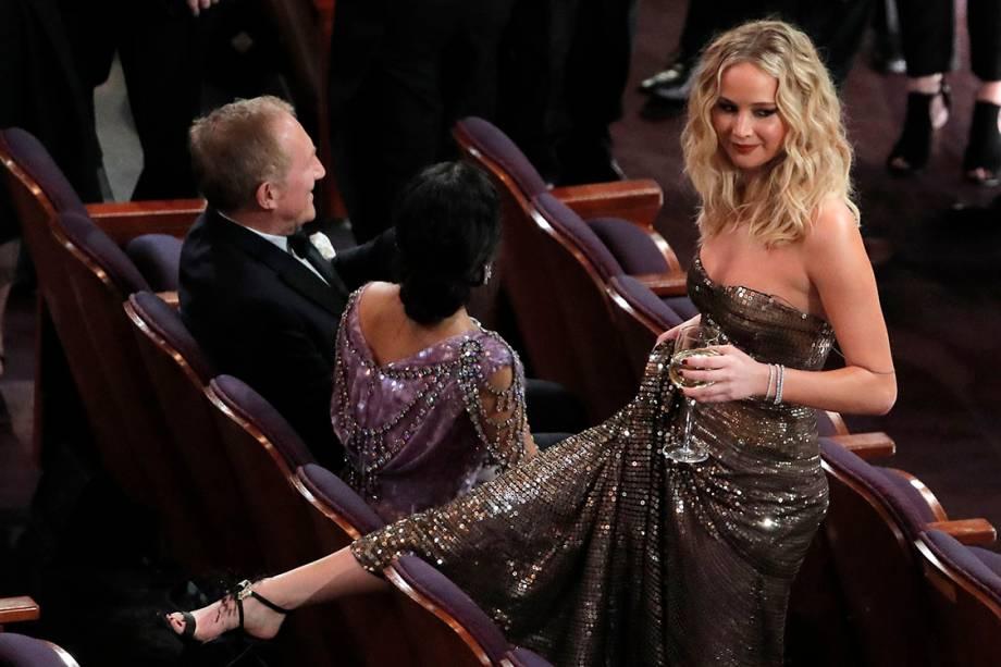 A atriz Jennifer Lawrence durante o Oscar 2018