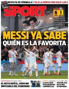 Jornal catalão Sport destacou a favorita Espanha