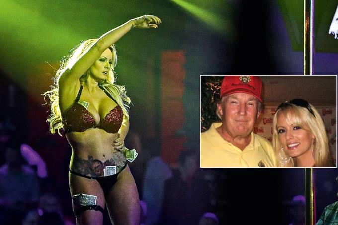 Exposto – Em destaque, Stormy com Trump, em 2006. Ao lado, a atriz em seu show de strip-tease, neste ano