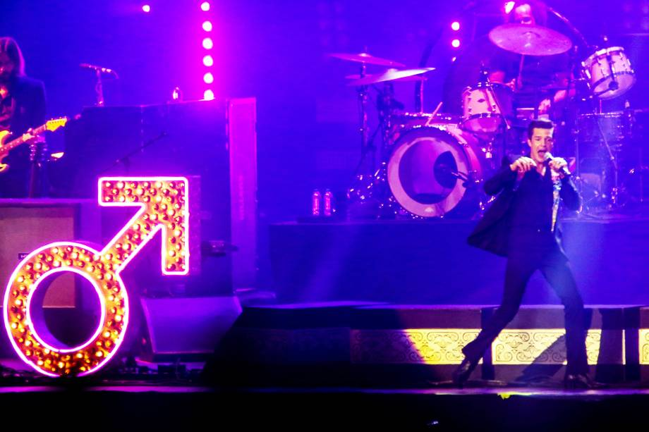 Show da banda The Killers durante o terceiro dia do Festival Lollapalooza 2018, em São Paulo