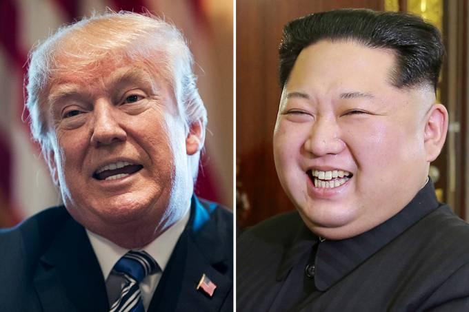 O presidente americano Donald Trump e o ditador norte-coreano Kim Jong-un