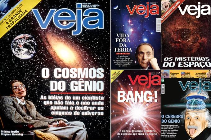 O universo ao alcance – Capas de VEJA sobre ídolos da ciência e temas que despertam cada vez mais o interesse popular: no caso de Stephen Hawking, à esquerda, nem mesmo a doença degenerativa lhe ceifou o tremendo brilhantismo mental