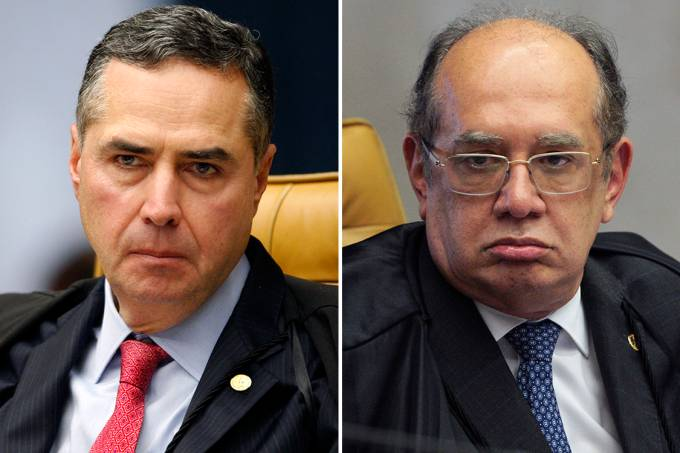 Os ministros do STF Roberto Barroso e Gilmar Mendes