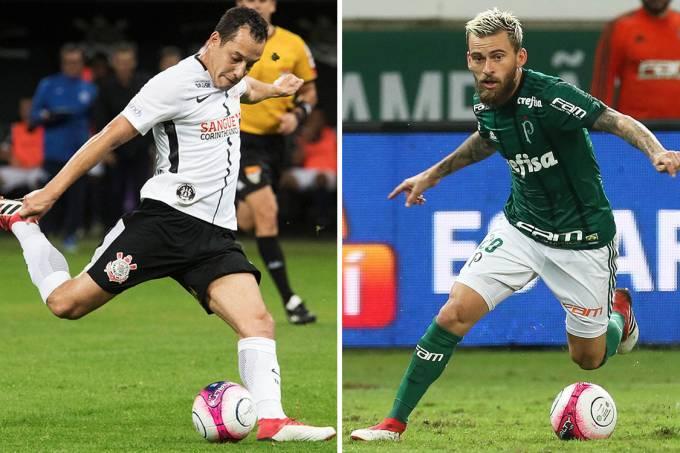 Rodriguinho, do Corinthians, e Lucas Lima, do Palmeiras