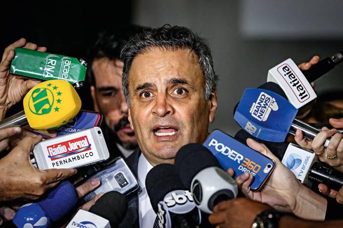Estreia – O senador Aécio Neves: o processo por corrupção passiva no STF pode ser apenas o primeiro de uma série. Ele ainda tem oito inquéritos na Corte