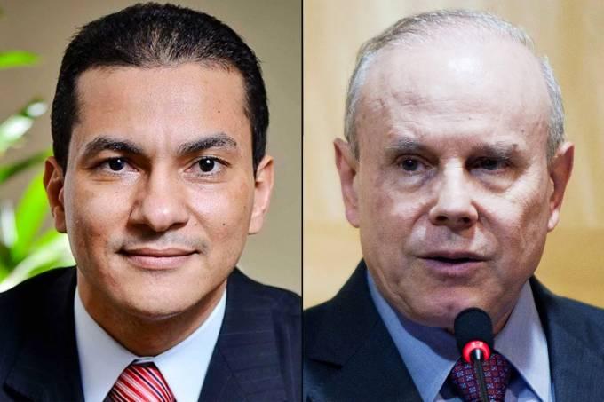 Os ex-ministros Marcos Pereira e Guido Mantega