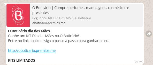 """Promoção """"O Boticário dias das Mães"""""""