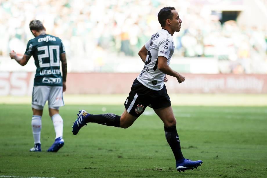 Rodriguinho comemora gol durante o jogo entre Palmeiras e Corinthians,  válido pela final do Campeonato Paulista - 08/04/2018