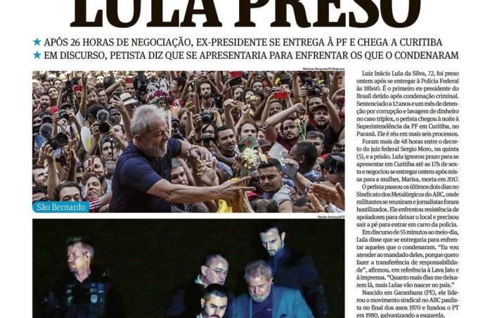 Manchete da Folha de 8 de março de 2018
