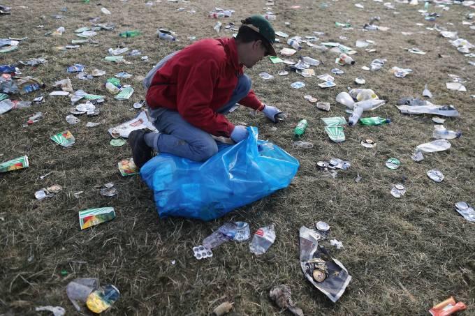 Lixo recolhido durante festival Glastonburry