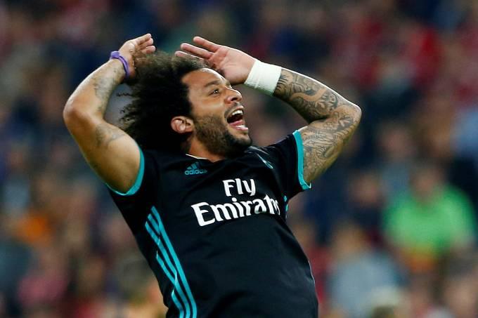 Marcelo, do Real Madrid, comemora o gol marcado na vitória sobre o Bayern de Munique nas semifinais da Liga dos Campeões, realizada na Allianz Arena, em Munique – 25/4/2018