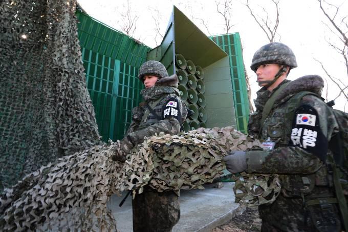 Alto-falantes sul-coreanos na fronteira