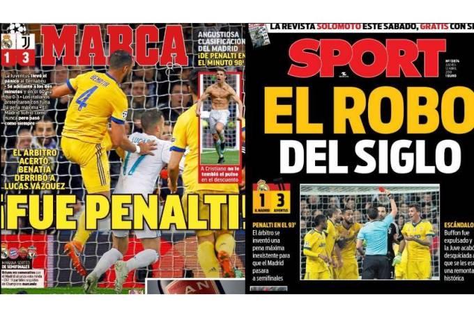 Jornais de Madri e Barcelona divergem sobre marcação do pênalti para o Real Madrid
