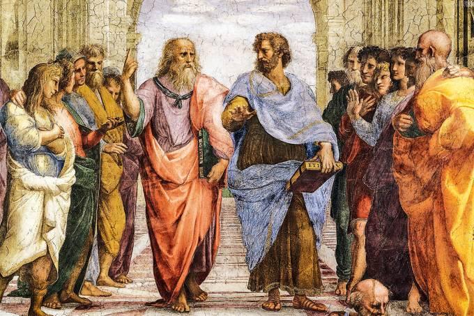 Diálogo entre o céu e a terra – Platão e Aristóteles, no afresco Escola de Atenas, de Rafael