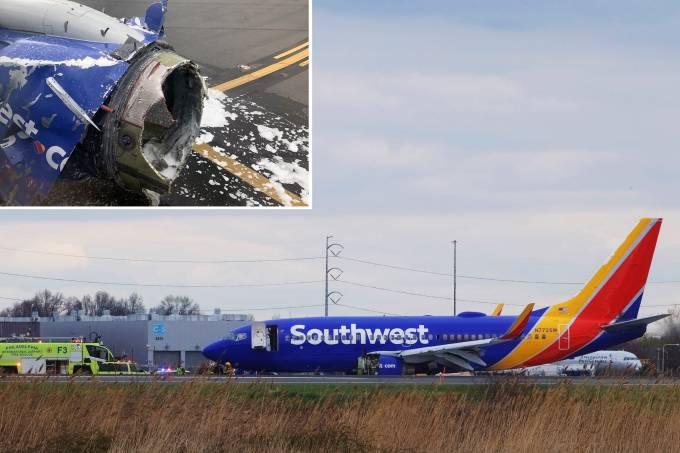 Avião faz pouso forçado na Filadélfia