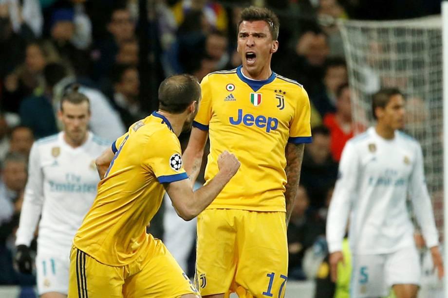 Mario Mandzukic, do Juventus, comemora após marcar contra o Real Madrid, pela Liga dos Campeões, em Madri