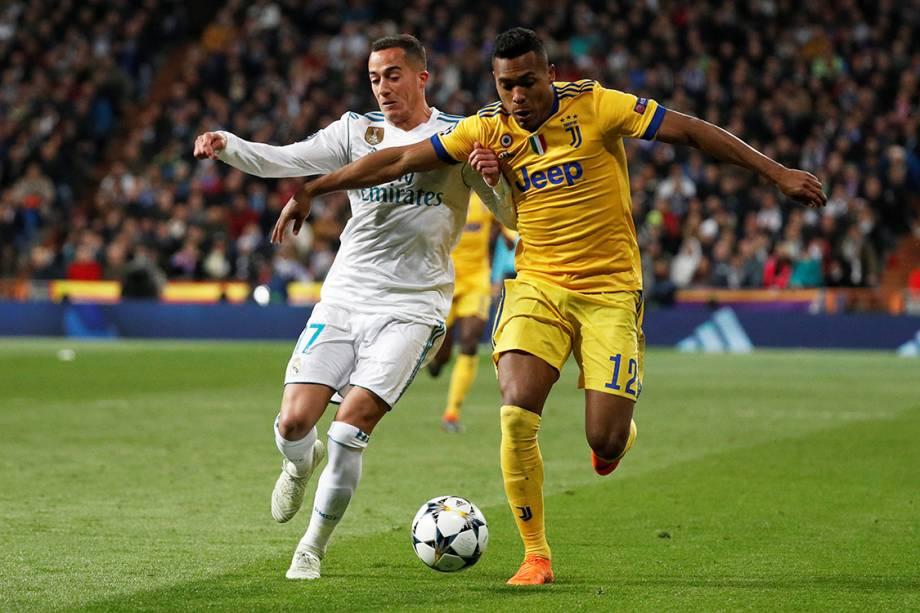 Lance na partida entre Real Madrid e Juventus, pela Liga dos Campeões, em Madri