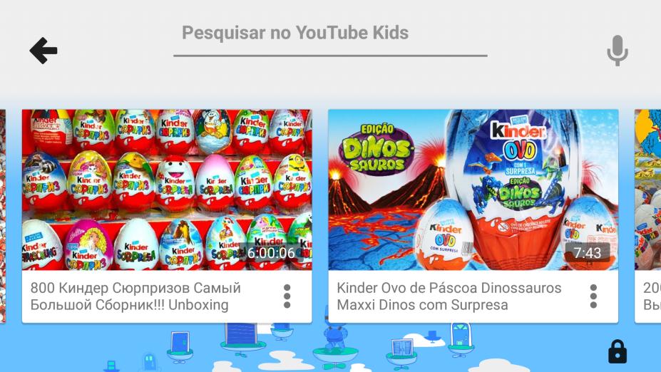 """No YouTube Kids, vídeos de unboxing (termo em inglês que significa """"tirar da caixa""""), em que crianças desembrulham brinquedos e alimentos."""