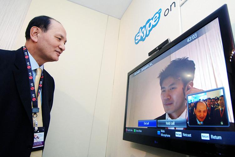 Câmera Skype instalada em uma Smart TV