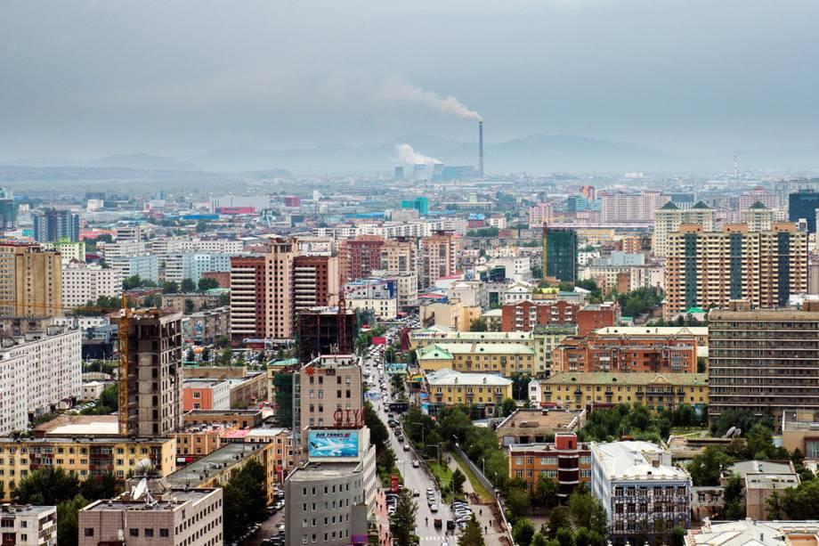 Vista de Ulaanbaatar, na Mongólia