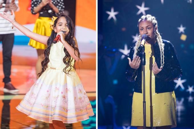 As candidatas Mariah Yohana e Talita Cipriano do programa The Voice Kids Brasil