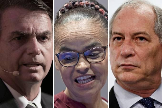 Jair Bolsonaro, Marina Silva e Ciro Gomes