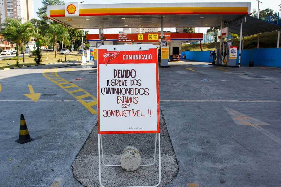 Posto na zona oeste de São Paulo, fecha por falta de combustível devido ao não abastecimento por conta da paralisação dos caminhoneiros - 24/05/2018