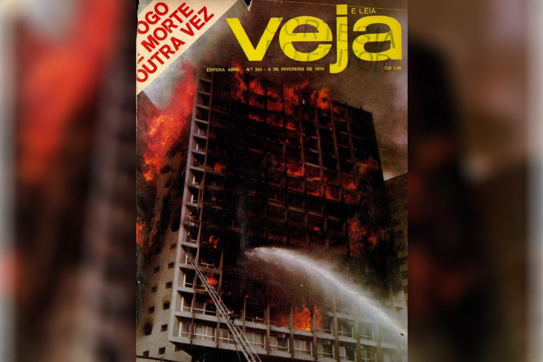 Capa da Revista VEJA de 6/2/1974, sobre o incêndio no Edifício Joelma