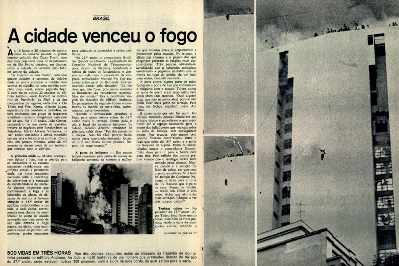 Matéria da Revista VEJA de 1/3/1972, sobre o incêndio no Edifício Andraus