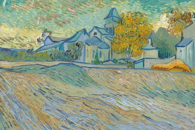 """""""Vue de l'asile et de la Chapelle de Saint-Rémy"""" de Vincent Van Gogh"""