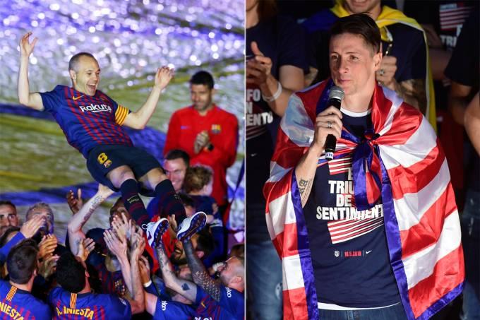 Andrés Iniesta, do Barcelona e Fernando Torres, do Atlético de Madri