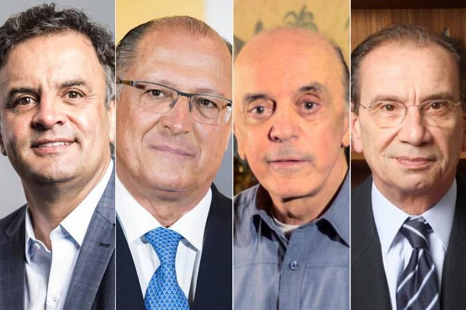 Os políticos Aécio Neves, Geraldo Alckmin, José Serra e Aloysio Nunes Ferreira