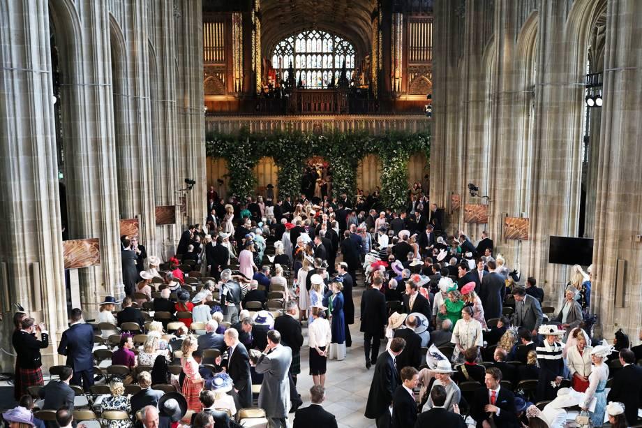Convidados na Capela de São Jorge antes do casamento entre o príncipe Harry e Meghan Markle - 19/05/2018
