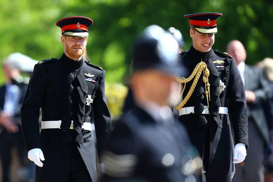 Príncipes Harry e William chegam ao Castelo de Windsor para participar de cerimônia de casamento - 19/05/2018