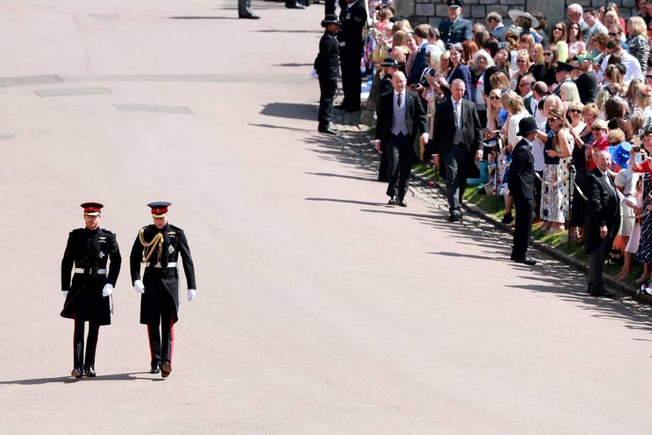 Príncipes Harry e William chegam ao Castelo de Windsor para a cerimônia - 19/05/2018