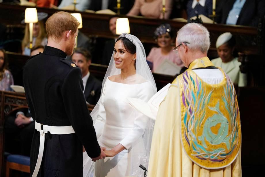 Príncipe Harry e Meghan Markle durante cerimônia de casamento na Capela de São Jorge, em Windsor - 19/05/2018