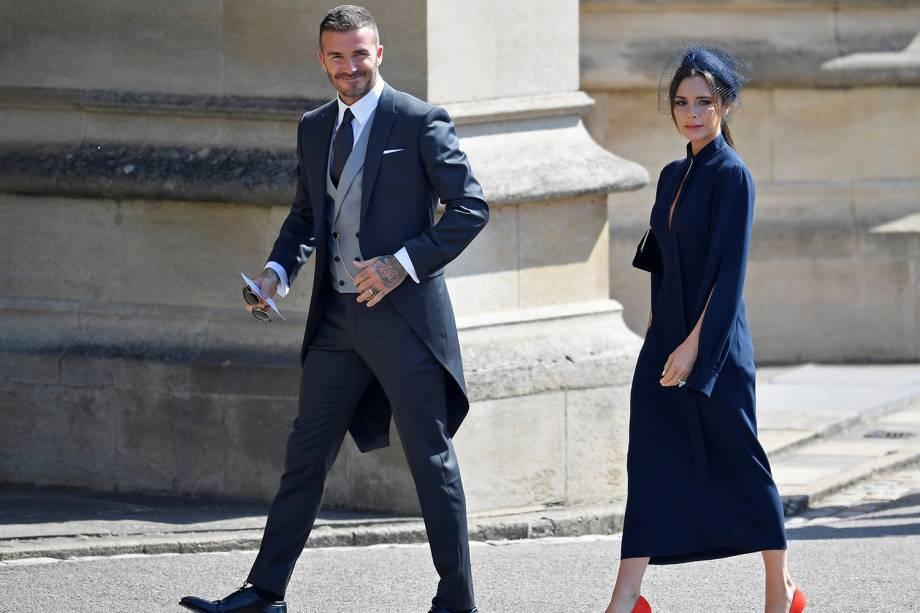 David e Victoria Beckham chegam ao Castelo de Windsor para participar de cerimônia de casamento de Harry e Meghan Markle - 19/05/2018