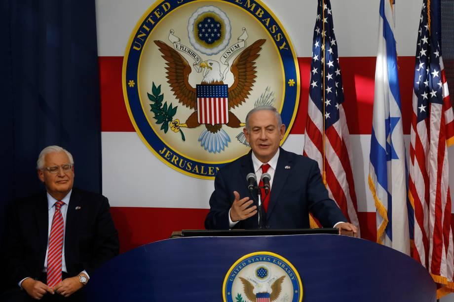 O primeiro-ministro de Israel, Benjamin Netanyahu, discursa durante a abertura da embaixada dos EUA em Jerusalém - 14/05/2018