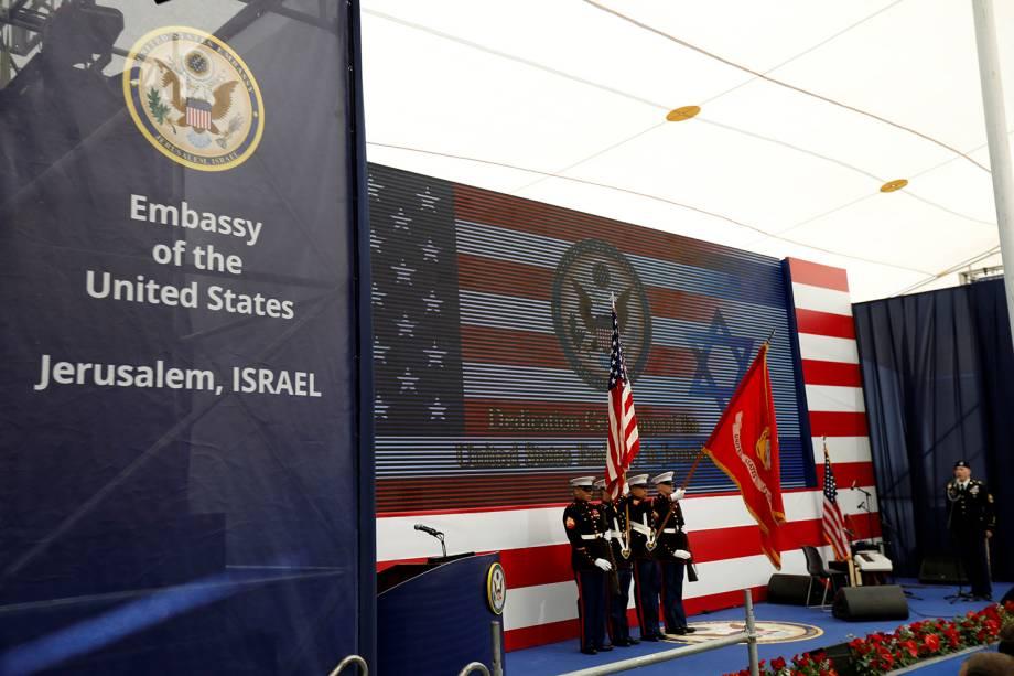 Membros da marinha dos Estados Unidos participam da cerimônia de abertura da Embaixada dos EUA em Jerusalem - 14/05/2018