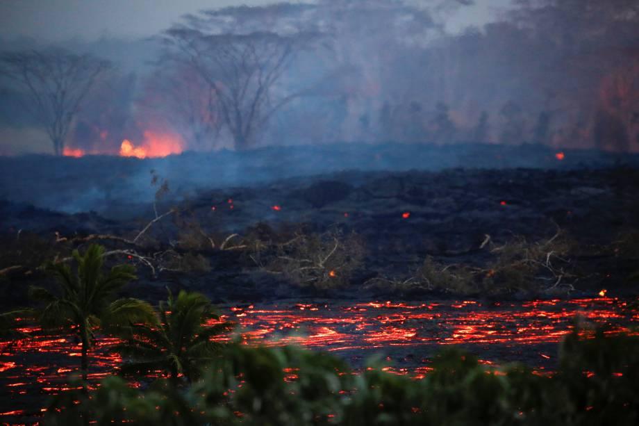Lava flui perto de árvores nos arredores de Pahoa durante as contínuas erupções do vulcão Kilauea, no Havaí - 19/05/2018