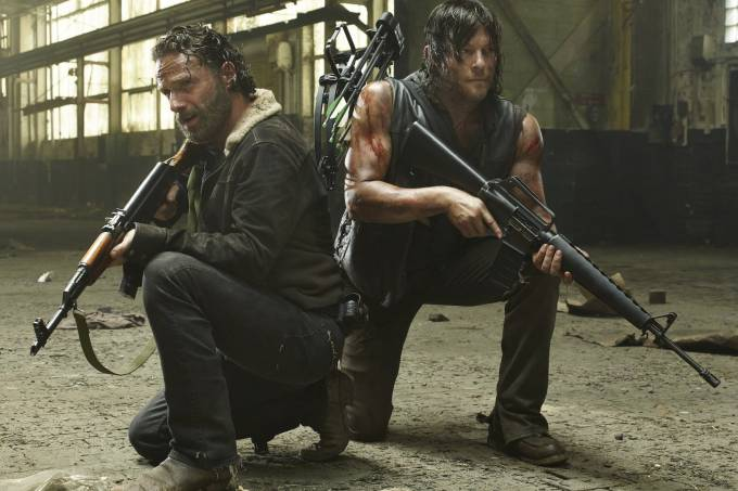 Rick (Andrew Lincoln) e Daryl (Norman Reedus) em 'The Walking Dead'
